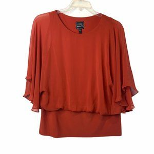 Coco Bianco Butterfly Sleeve Brown Blouse